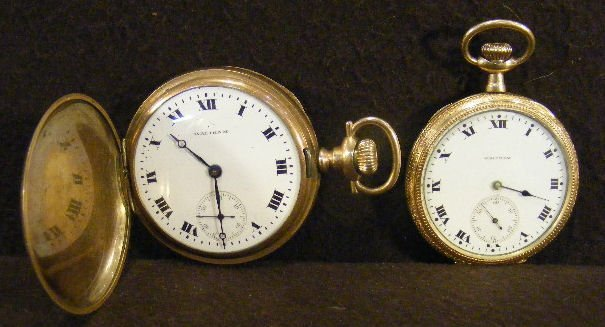 6Z: Two Waltham gold filled pocket watches, open faced
