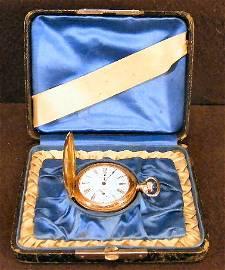 8Z: American Waltham gold filled pocket watch, running,