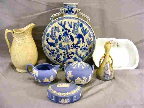 Lot including Parian pitcher, oriental vase, Wedgw