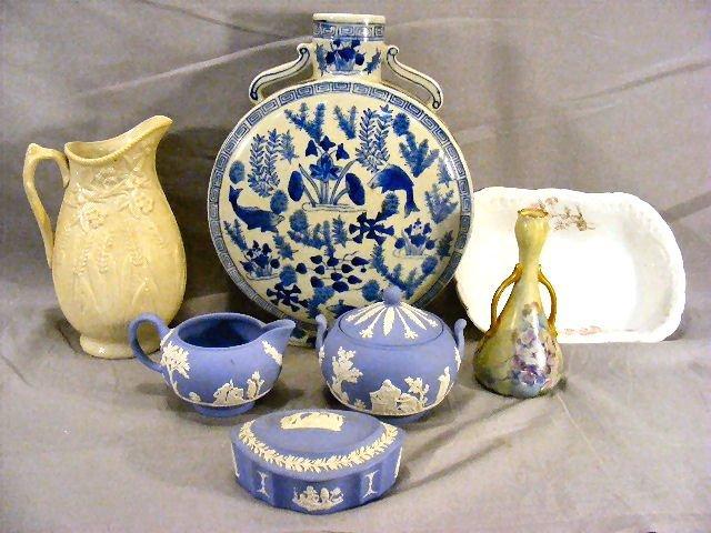 19L: Lot including Parian pitcher, oriental vase, Wedgw