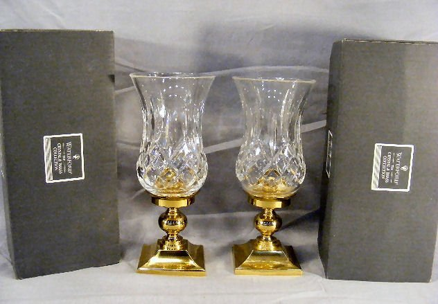 20L: Pair of Waterford crystal and brass hurricane lamp