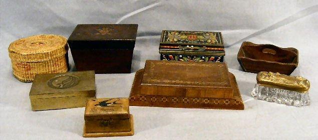 21L: Lot of inlaid boxes, oriental basket, art nouveau