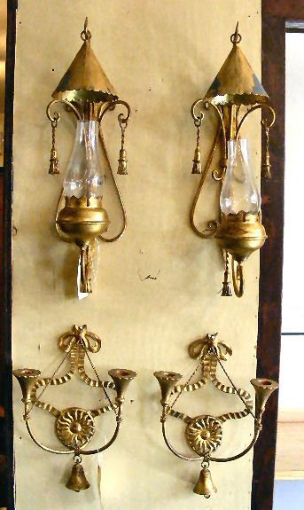 23L: Two pair of Palladio Italy gilded wall sconces, 20