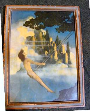 "Original Maxfield Parrish print ""Dinky Bird"" in or"