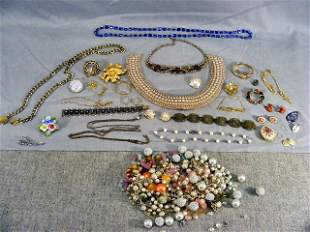 Lot of estate costume jewelry including necklaces,