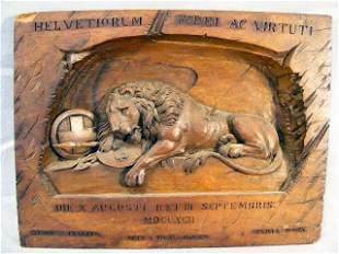 Swiss wood carved wall plaque, Lion of Lucerne, ch