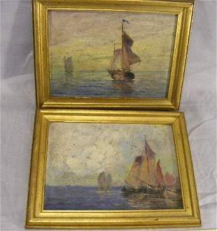 Pair of oil paintings on artist board, sailing shi