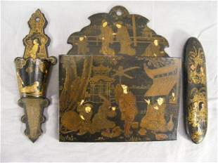 Oriental lacquer wall pocket, match holder and eye