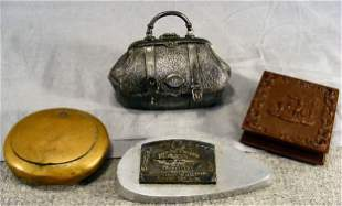 Lot including antique brass box, silver plated box