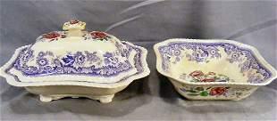 """Copeland Spode Mayflower open veg. bowl, 9.5"""" squa"""