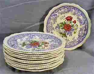 """Copeland Spode Mayflower 12 - 10.75"""" dinner plates"""