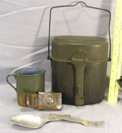 50R: German WWII mess kit with cup & folding fork/spoon