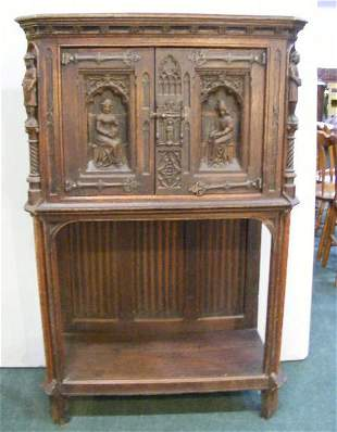 Antique carved oak cabinet, English or continental
