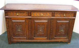 Carved oak sideboard, Eudal Oak Jamestown Lounge C