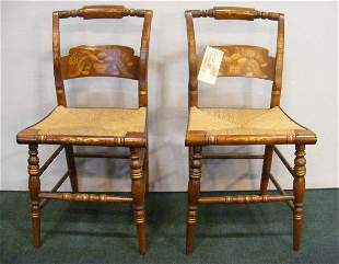 Pair of Hitchcock chairs with rush seats, excellen