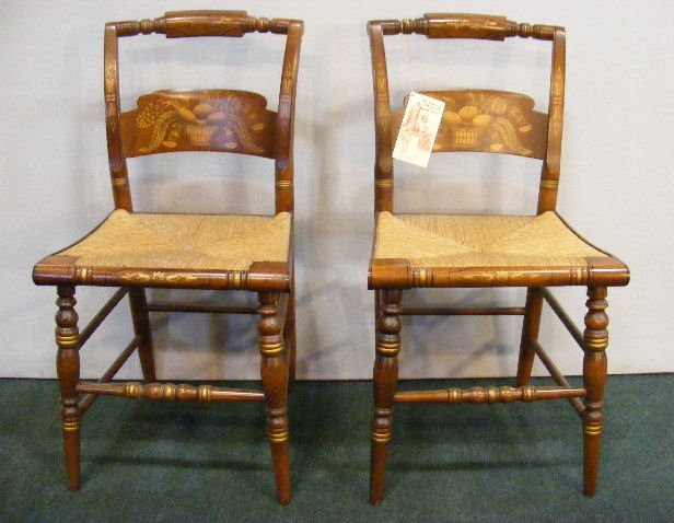 55P: Pair of Hitchcock chairs with rush seats, excellen