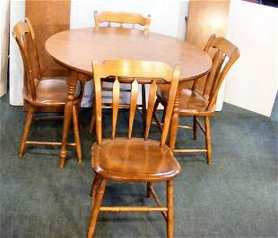 """Signed Hitchcock 42"""" round table with two 13.75"""" l"""