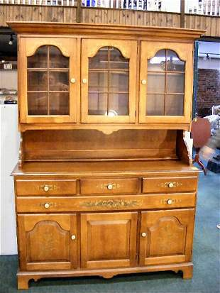 Hitchcock two piece hutch with glass doors, excell