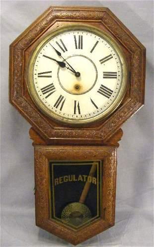 "Sessions oak case regulator clock, 33"" long, origi"