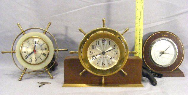 Lot including Seth Thomas ships clock, Sessions el