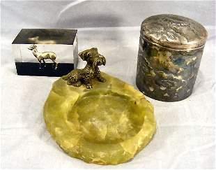 Lot including, German bronze dog on green onyx dis