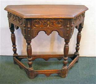 """Carved oak console table with drawer, 37"""" wide, 30"""