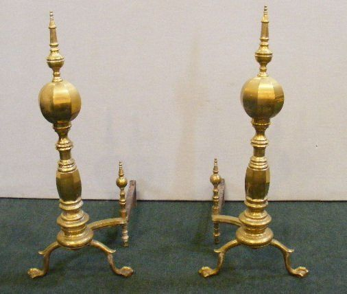 """Pair of large brass andirons, 30.5"""" high"""