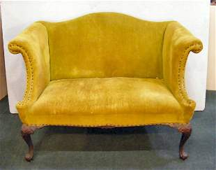 """Upholstered loveseat, finely carved legs, 36"""" high"""