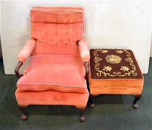 "Upholstered armchair 35"" high, 26"" wide & 31"" deep"