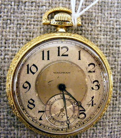 98B: Waltham 14K gold filled 15 jewel pocket watch, run
