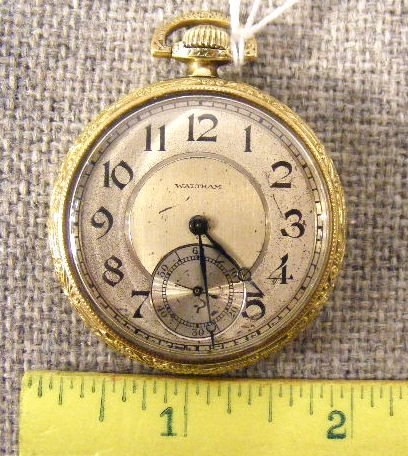98B: Waltham 14K gold filled 15 jewel pocket watch, run - 2