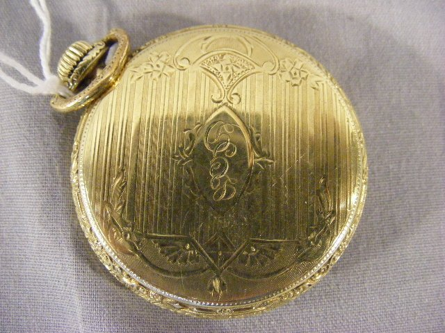 98B: Waltham 14K gold filled 15 jewel pocket watch, run - 3