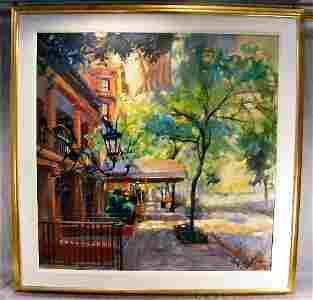 123T: Large oil painting on canvas signed Fredrick Gues