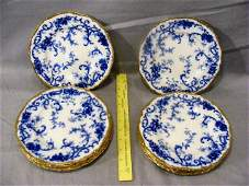 "128A: Twelve 8.5"" flow blue Cauldron, England plates. G"
