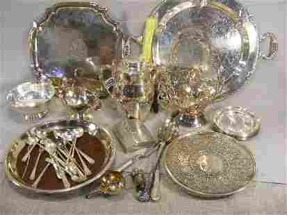 Lot of misc. silver plate including trays, iced t