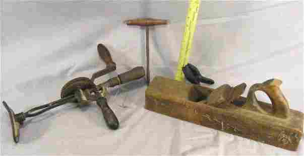 Tool lot including wood plane, hand drill, etc.