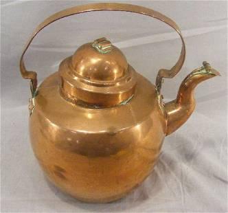"""Copper gooseneck teapot, dovetailed bottom, 12"""" t"""