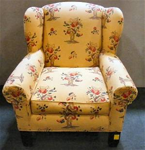 """Large upholstered armchair, 39"""" high, 37"""" wide, l"""