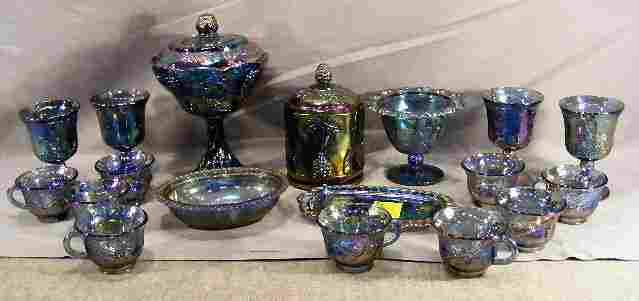 Lot of Indiana carnival glass including covered c