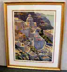 Large artist signed print 63/250 sea side town, 4