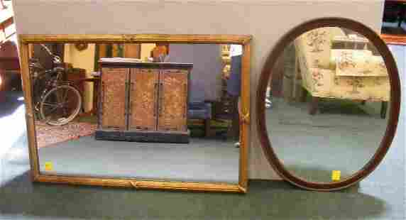 """Two mirrors, gold leaf mirror 48"""" X 33"""" and mahog"""