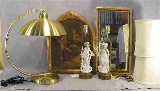 Lot including porcelain figural lamps, brass lamp