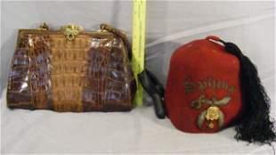 Lot including Sphinx fez and alligator bag