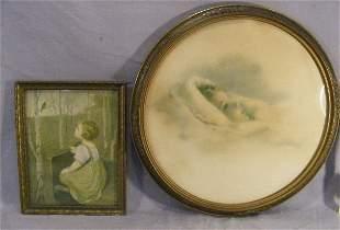 """Bessie Pease Gutmann print """"Rosebud"""" 15.5"""" framed"""