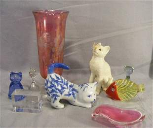 Misc. lot including art glass spoon rest, fish pa