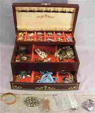 Lot of misc. costume jewelry and jewelry box