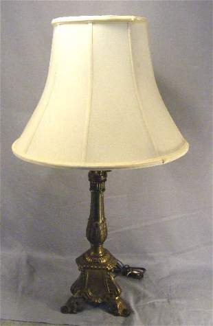 """Bronzed metal table lamp, 23"""" high to bottom of s"""