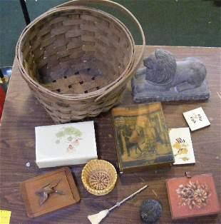 Misc. lot including baskets, boxes, cast resin li