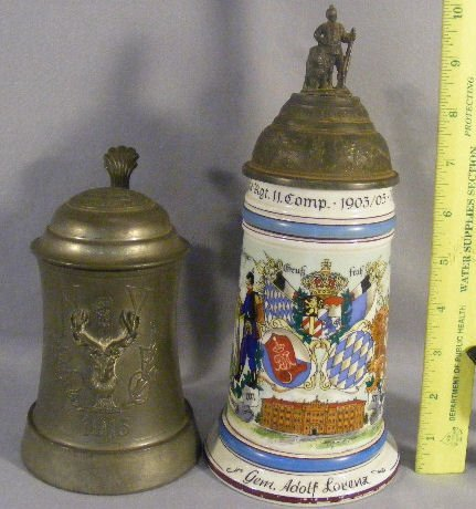 4L: Two beer steins, 1913 Elks fraternal stein with etc