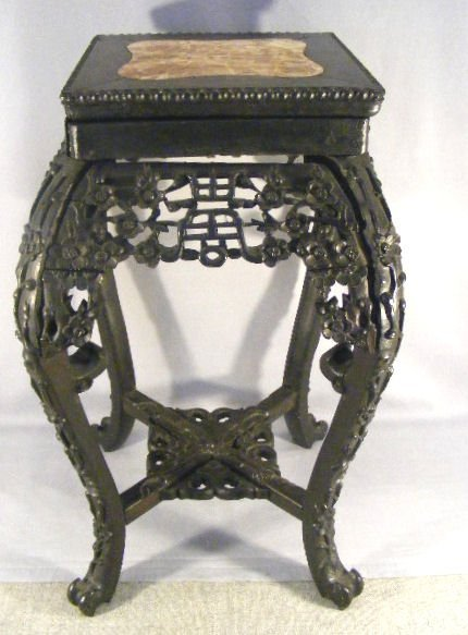 10L: Carved oriental plant stand with marble insert, so